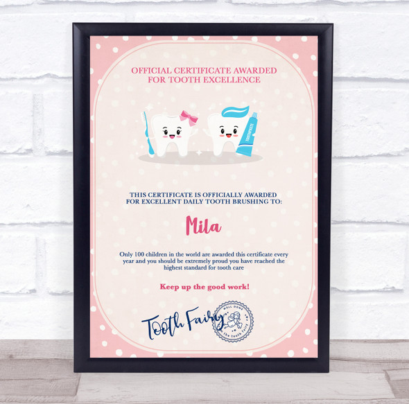Tooth Fairy Pink Official Tooth Excellence Personalised Certificate Award Print