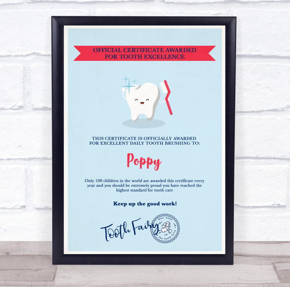 Tooth Fairy Official For Tooth Excellence Light Blue Personalised Certificate