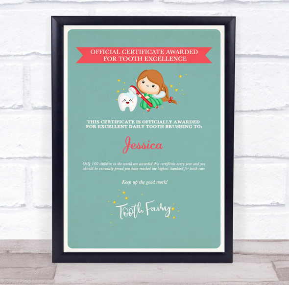 Tooth Fairy Official For Tooth Excellence Teal Personalised Certificate Award