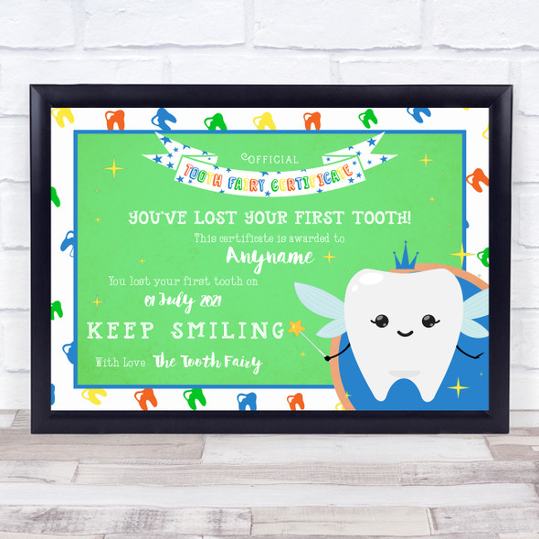 Tooth Fairy First Tooth Decorative Green Personalised Certificate Award Print