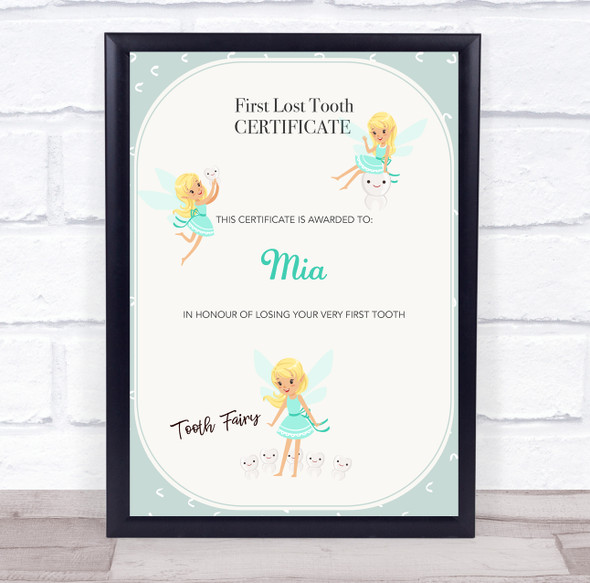 First Lost Tooth Blue Dress Tooth Fairy Personalised Certificate Award Print