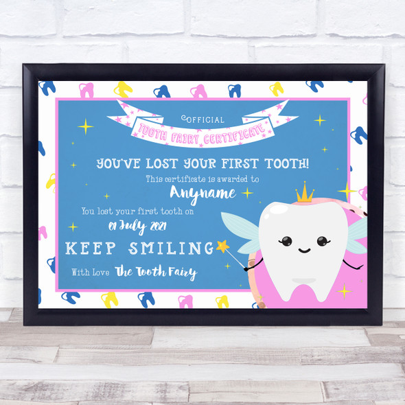 Tooth Fairy First Tooth Decorative Blue Pink Personalised Certificate Award