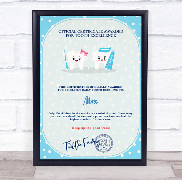 Blue Girl And Boy Tooth Fairy Official Personalised Certificate Award Print