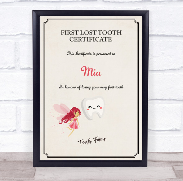 First Lost Tooth Blushing Tooth Fairy Personalised Certificate Award Print