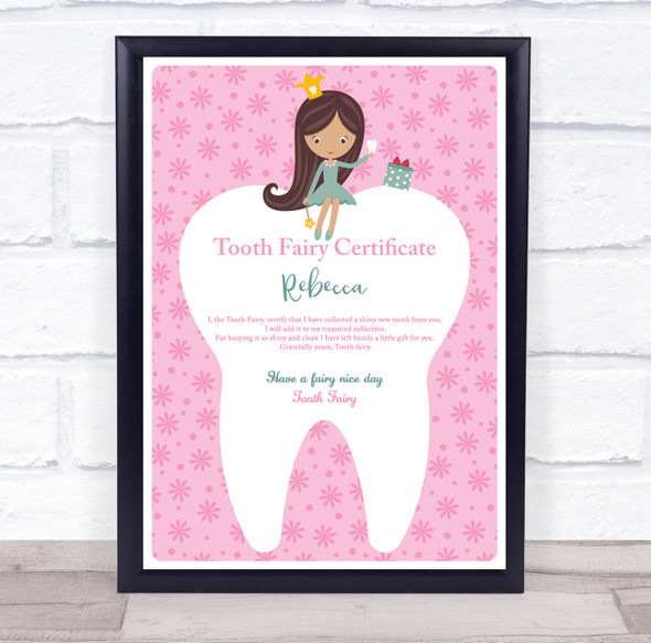 Pink Tooth Fairy Cartoon Girl Personalised Certificate Award Print