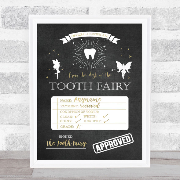 Tooth Fairy Check List Chalk Personalised Certificate Award Print