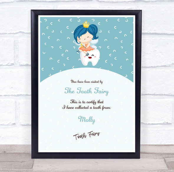 Tooth Fairy Teal And White Personalised Certificate Award Print