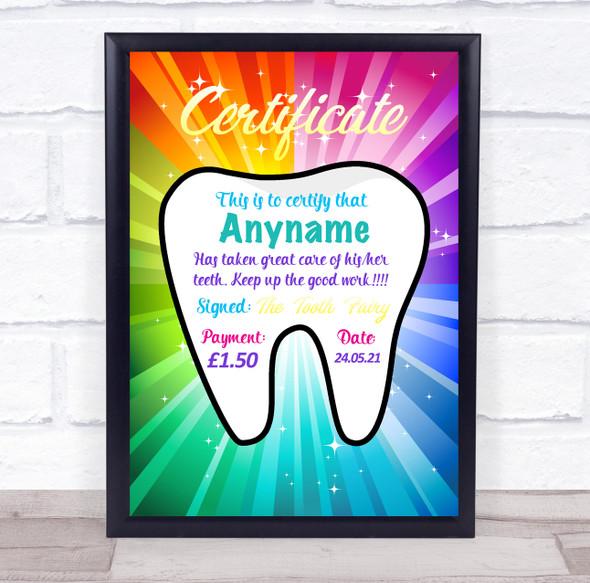 Tooth Fairy Rainbow Burst Personalised Certificate Award Print