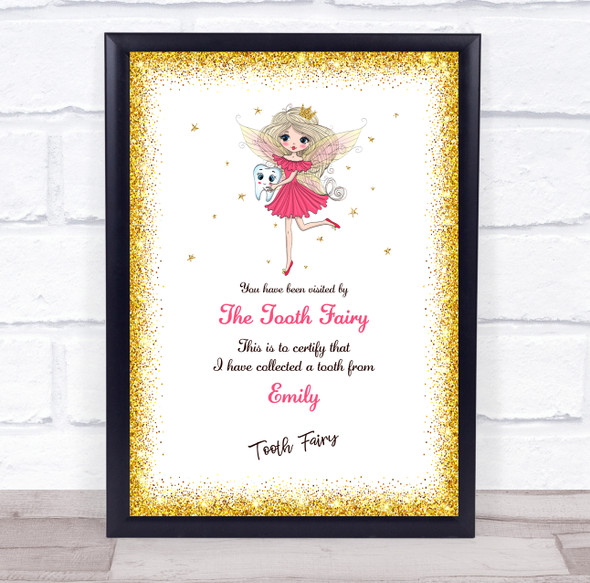 Tooth Fairy Gold Border Personalised Certificate Award Print