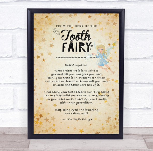 Vintage Style The Tooth Fairy Letter Certificate Award Print