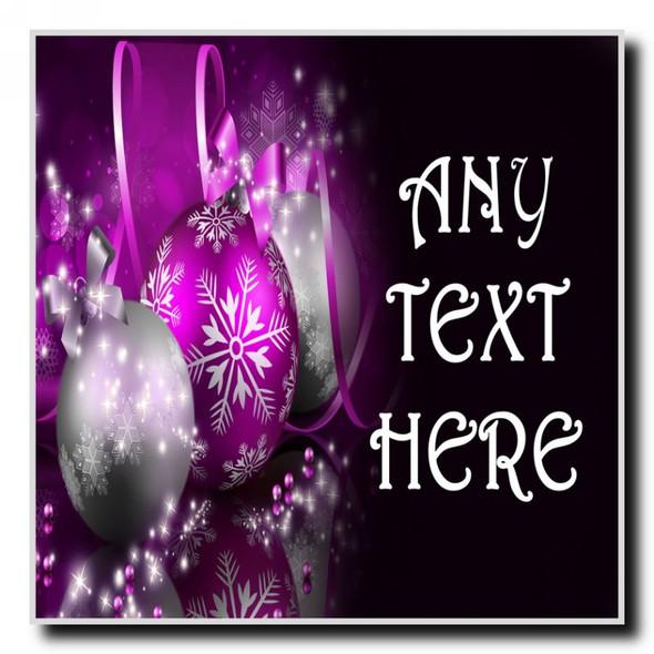Purple Christmas Personalised Drinks Mat Coaster