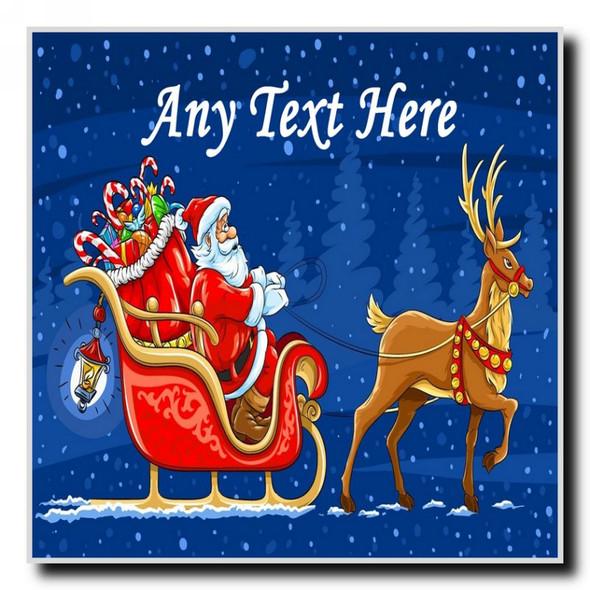 Santa And Rudolph Christmas Personalised Drinks Mat Coaster