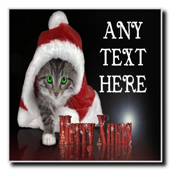 Santa Cat Christmas Personalised Drinks Mat Coaster