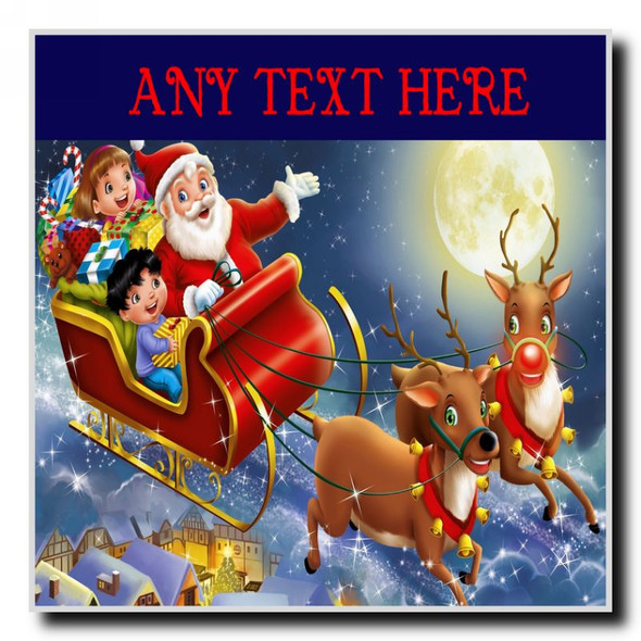 Santa In His Sleigh Christmas Personalised Drinks Mat Coaster