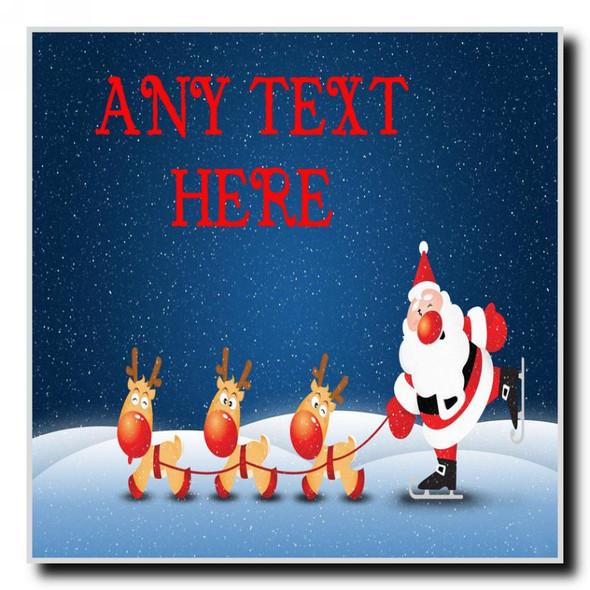 Snowing Santa Christmas Personalised Drinks Mat Coaster