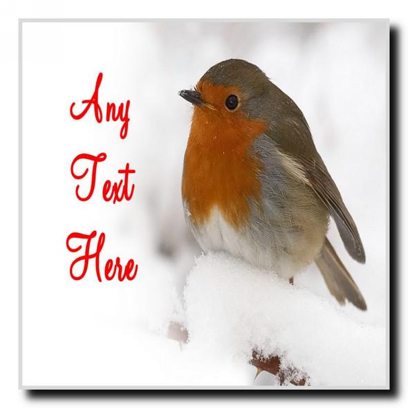 Stunning Robin Christmas Personalised Drinks Mat Coaster