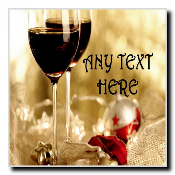 Wine Christmas Personalised Drinks Mat Coaster