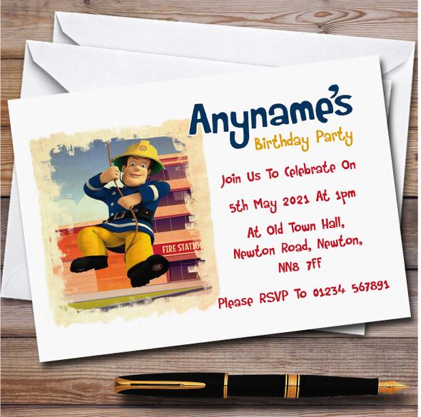 Fireman Sam Swinging Brush Personalised Children's Birthday Party Invitations