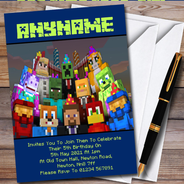 Minecraft Party Characters Personalised Children's Birthday Party Invitations