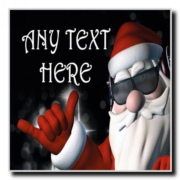 Cool Santa Christmas Personalised Drinks Mat Coaster
