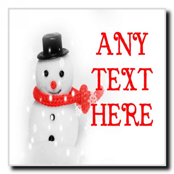 Cute Snowman Christmas Personalised Drinks Mat Coaster