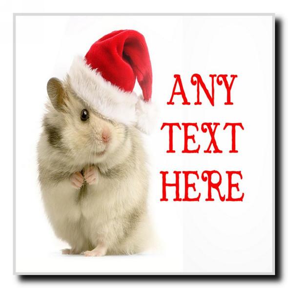 Hamster Christmas Personalised Drinks Mat Coaster