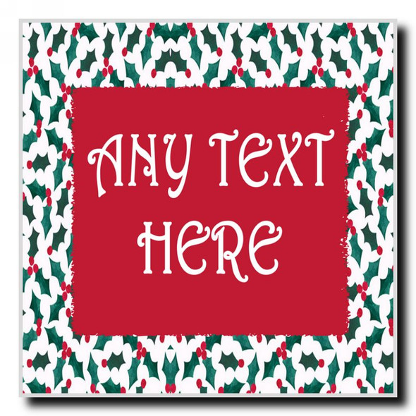 Holly Christmas Personalised Drinks Mat Coaster