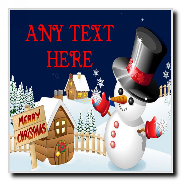 Jolly Snowman Christmas Personalised Drinks Mat Coaster