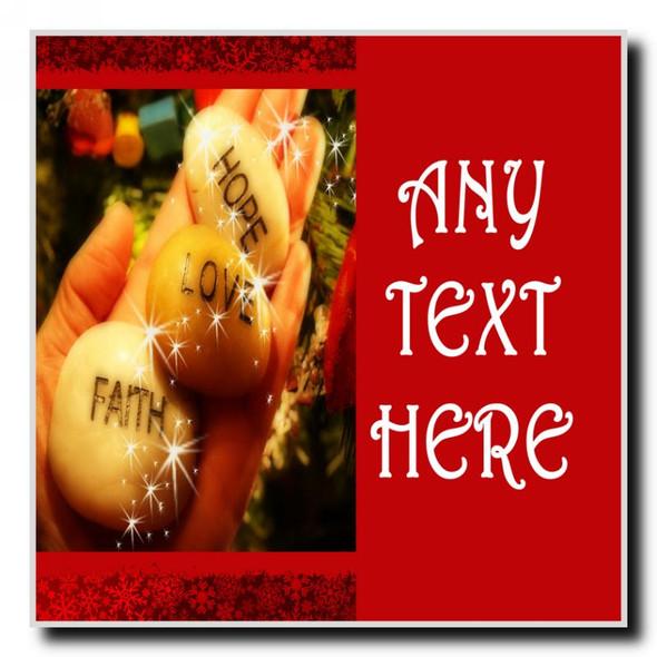 Love Faith Hope Christmas Personalised Drinks Mat Coaster