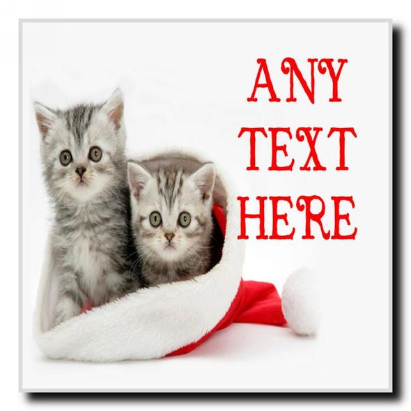 Lovely Kittens Christmas Personalised Drinks Mat Coaster