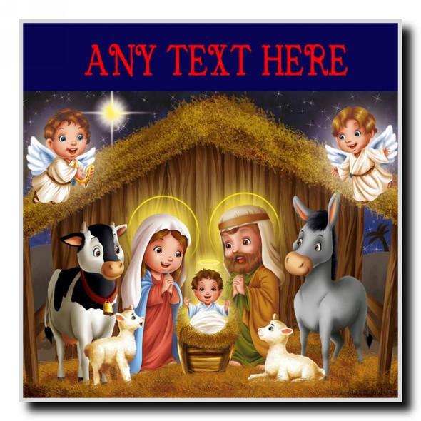 Nativity Scene Christmas Personalised Drinks Mat Coaster