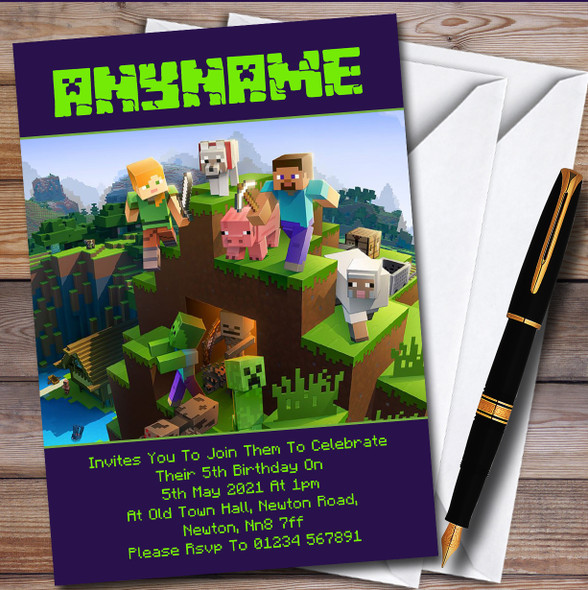 Minecraft Party Characters Creepers Children's Birthday Party Invitations