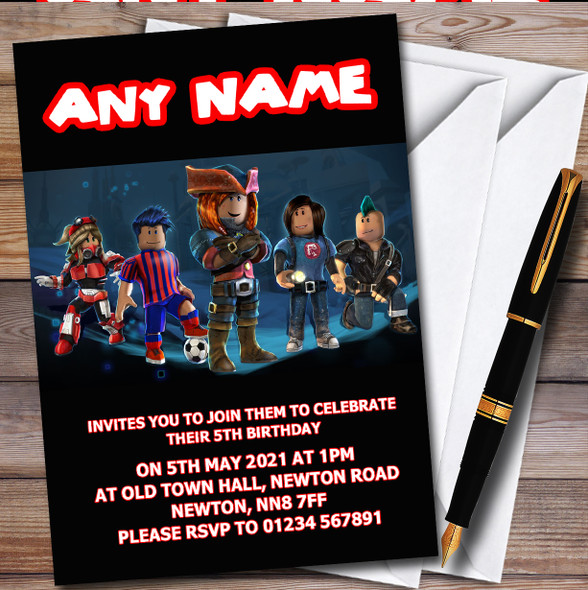 Blue Roblox Card Personalised Children's Kids Birthday Party Invitations