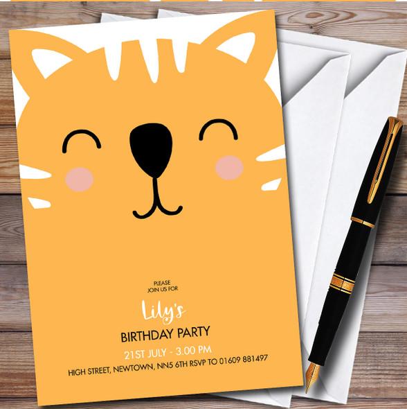 Modern Minimal Ginger Cat Face Children's Birthday Party Invitations