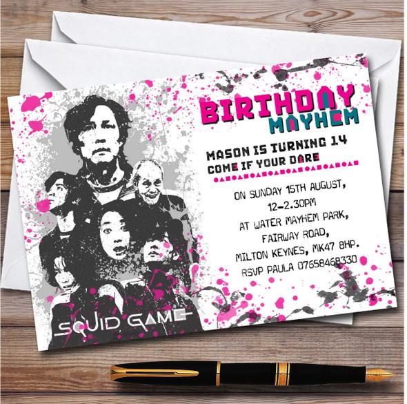 Squid Games Black & White Splatter Personalised Birthday Party Invitations