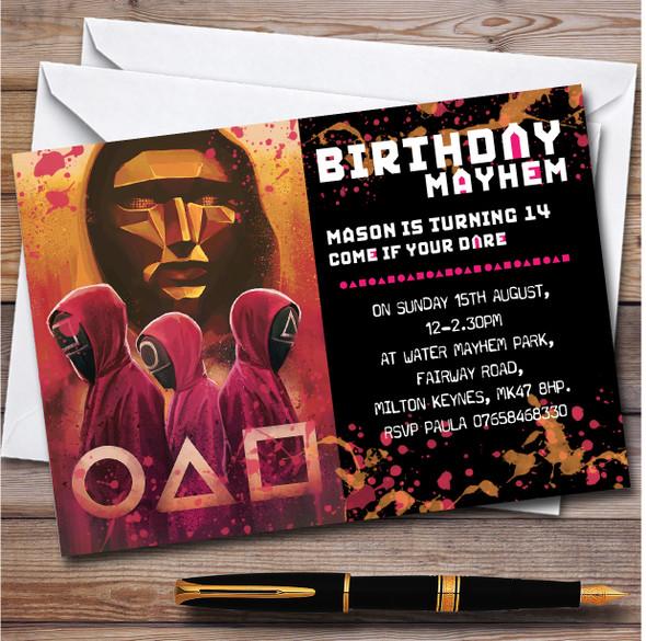 Squid Games Birthday Mayhem Personalised Birthday Party Invitations