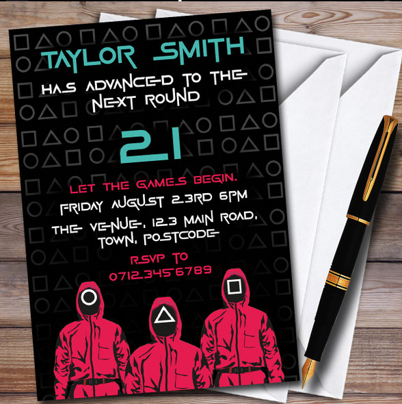 Squid Game Next Round Personalised Birthday Party Invitations
