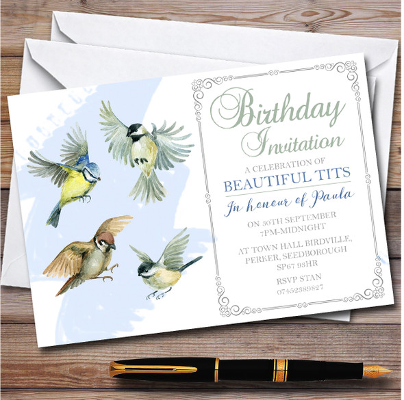 Humour Beautiful Tits Personalised Birthday Party Invitations