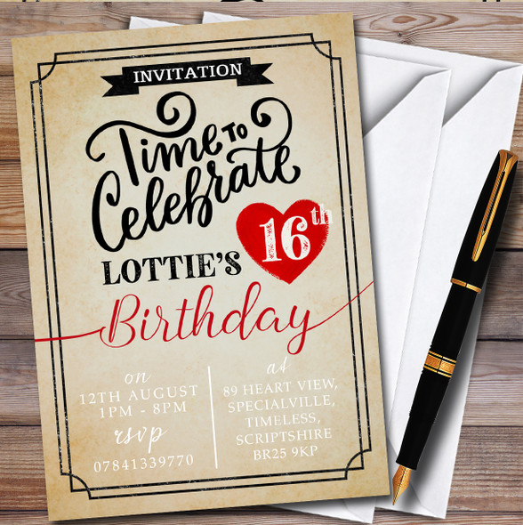 Vintage Any Age Heart Personalised Birthday Party Invitations