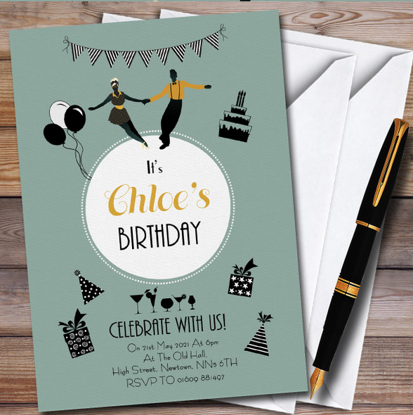 Dancing And Cocktails Personalised Birthday Party Invitations