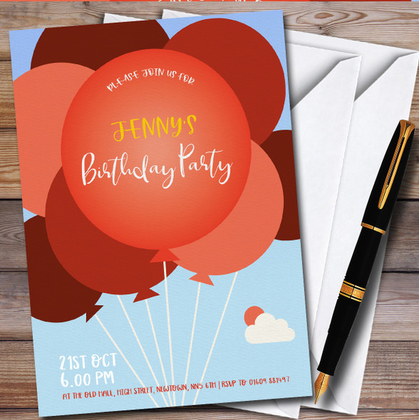 Red Balloons Blue Sky Personalised Birthday Party Invitations