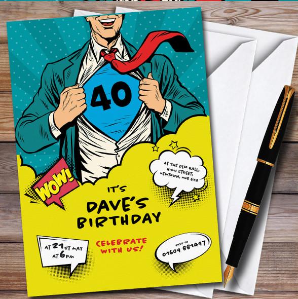 Superhero Adult Comic Personalised Birthday Party Invitations
