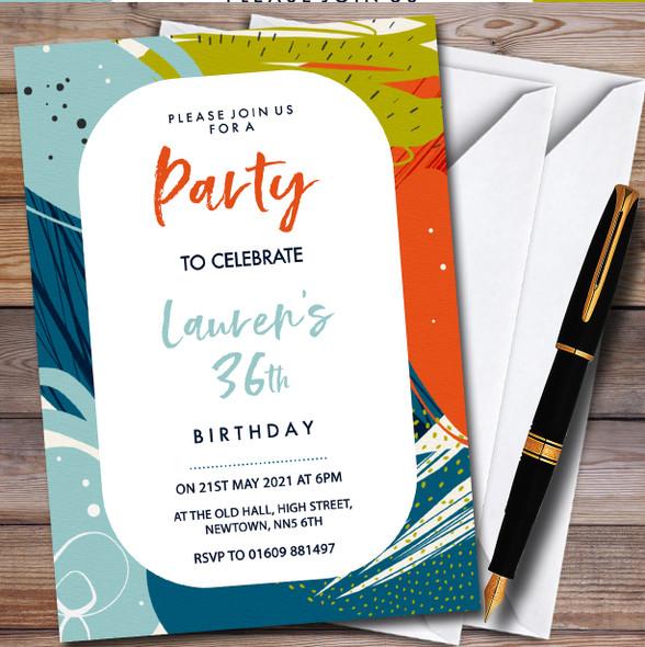 Abstract Retro Border Personalised Birthday Party Invitations