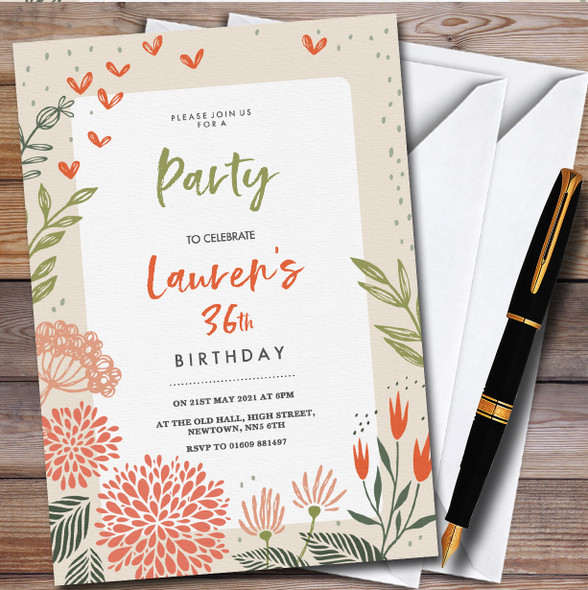 Autumn Flowers Border Personalised Birthday Party Invitations