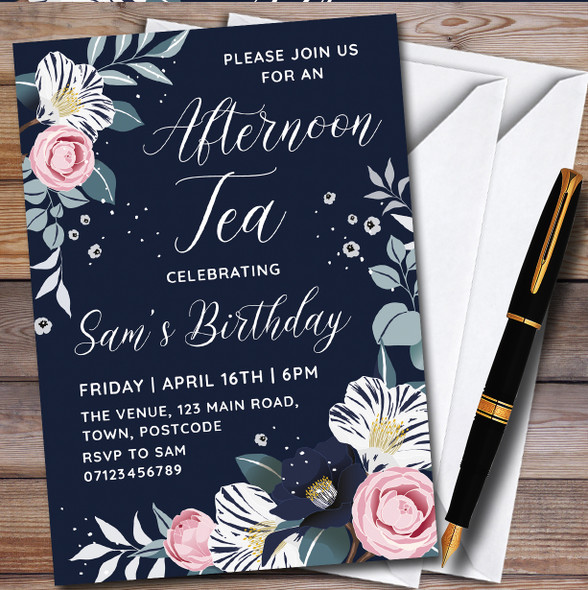 Afternoon Tea Flower Personalised Birthday Party Invitations