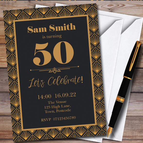 Gold Art Deco Gatsby Personalised Birthday Party Invitations