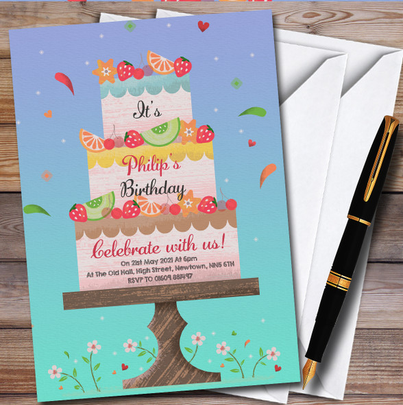 Fruity Cake On Stand Personalised Birthday Party Invitations