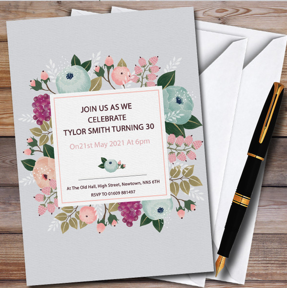Grey And Floral Chic Personalised Birthday Party Invitations
