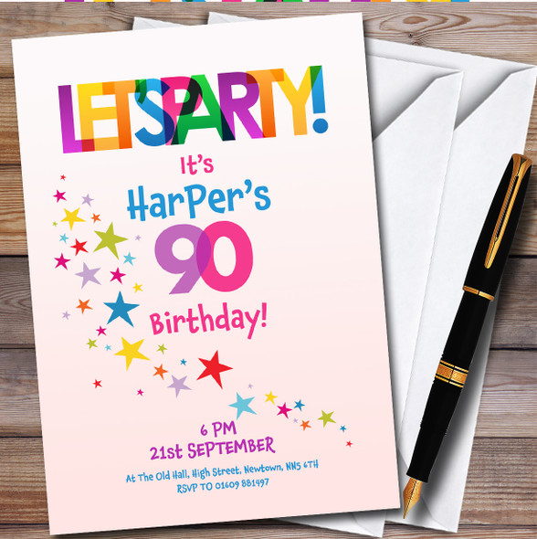 Lets Party Colourful Personalised Birthday Party Invitations