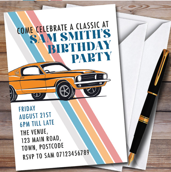 Classic Car Vintage Personalised Birthday Party Invitations